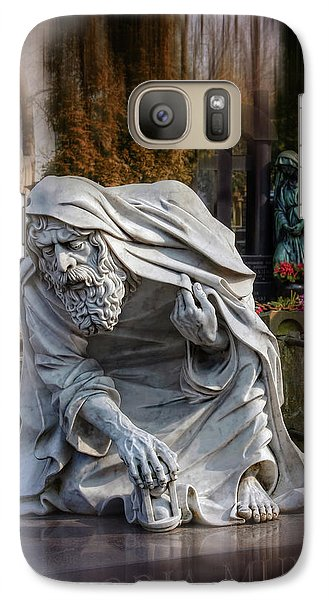 Galaxy Case featuring the photograph The Old Man Of Powazki Cemetery Warsaw  by Carol Japp