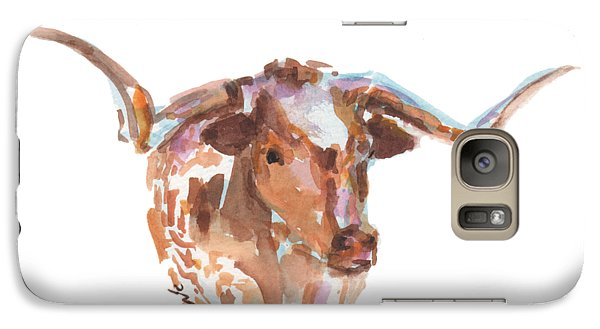 Cow Galaxy S7 Case - The Original Longhorn Standing Earth Quack Watercolor Painting By Kmcelwaine by Kathleen McElwaine