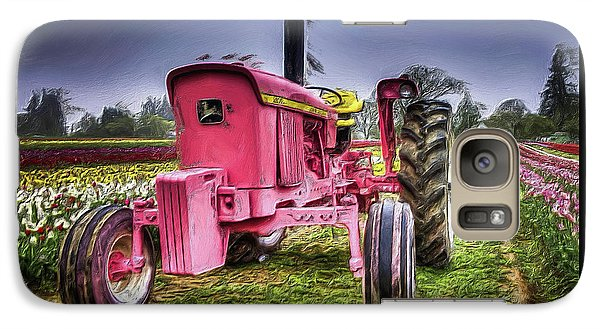 Galaxy Case featuring the photograph The Pink Tractor At The Wooden Shoe Tulip Farm by Thom Zehrfeld