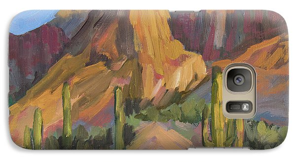 Galaxy Case featuring the painting The Pinnacle At Goldfield Mountains by Diane McClary