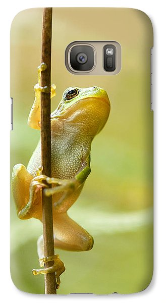 The Pole Dancer - Climbing Tree Frog  Galaxy Case by Roeselien Raimond