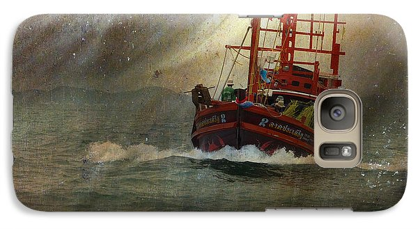 Galaxy Case featuring the photograph The Red Fishing Boat by LemonArt Photography
