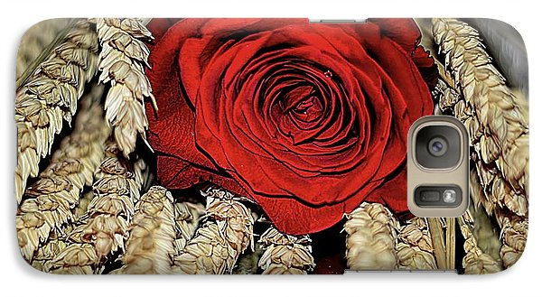 Galaxy Case featuring the photograph The Red Rose On A Bed Of Wheat by Diana Mary Sharpton