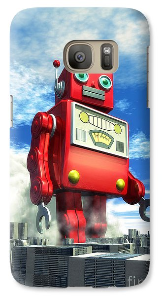 The Red Tin Robot And The City Galaxy S7 Case by Luca Oleastri