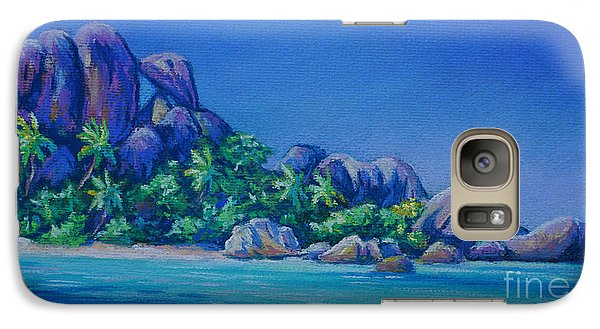 The Rocks On La Digue  Panoramic Galaxy Case by John Clark