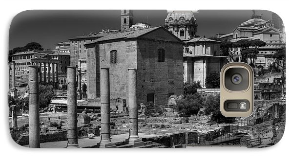 Galaxy Case featuring the photograph The Roman Forum 003 Bw by Lance Vaughn