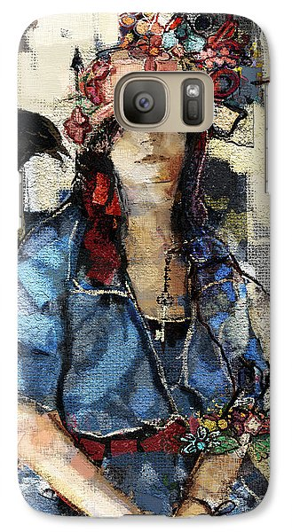 Galaxy Case featuring the mixed media The Seer by Carrie Joy Byrnes