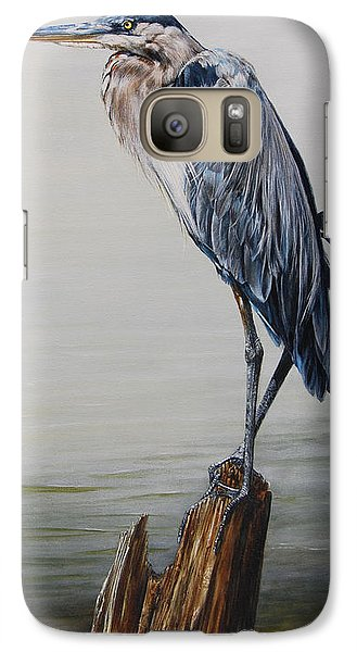 The Sentinel - Portrait Of A Great Blue Heron Galaxy S7 Case