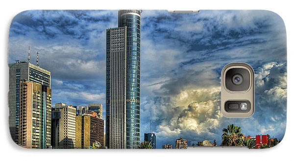 Galaxy Case featuring the photograph The Skyscraper And Low Clouds Dance by Ron Shoshani