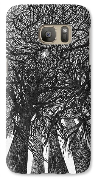 Galaxy Case featuring the drawing The Skyscrapers Of The Forest by Anna  Duyunova