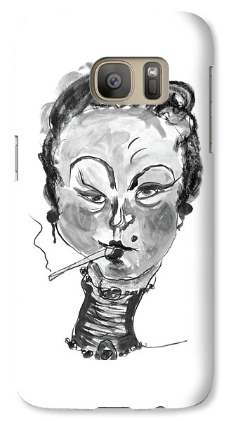 Galaxy Case featuring the mixed media The Smoker - Black And White by Marian Voicu