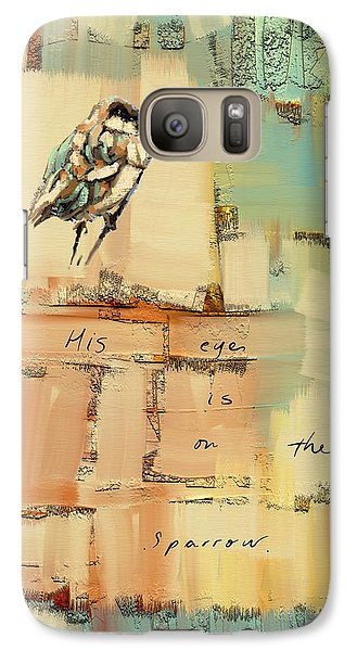 Galaxy Case featuring the mixed media The Sparrow by Carrie Joy Byrnes