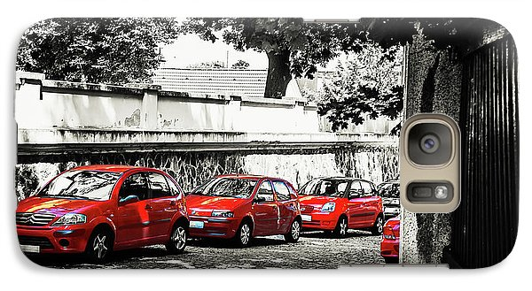 Galaxy Case featuring the photograph The Street Of Red Cars by Jenny Rainbow