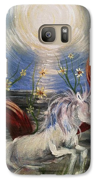 Galaxy Case featuring the painting the Sun by Karen  Ferrand Carroll