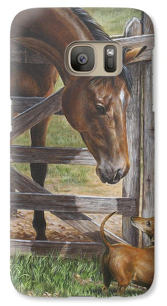 Galaxy Case featuring the painting The Tall And Short Of It by Kim Lockman