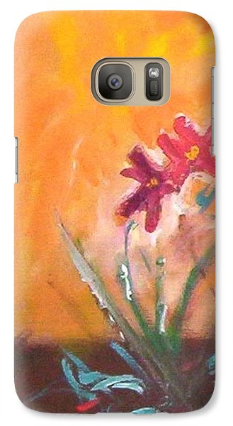 Galaxy S7 Case featuring the painting The Three Daisies by Winsome Gunning