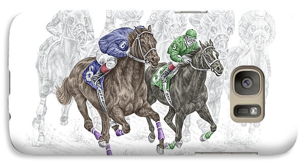 Galaxy Case featuring the drawing The Thunder Of Hooves - Horse Racing Print Color by Kelli Swan