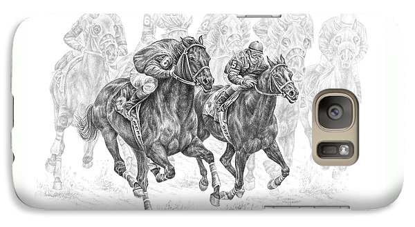 Galaxy Case featuring the drawing The Thunder Of Hooves - Horse Racing Print by Kelli Swan