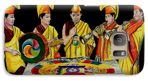 Galaxy Case featuring the drawing The Tibetan Monks At Lilydale Assembly by Albert Puskaric