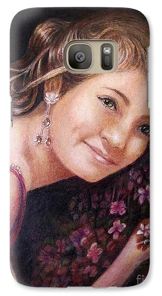 Galaxy Case featuring the painting The Topaz Earring by Patricia Schneider Mitchell