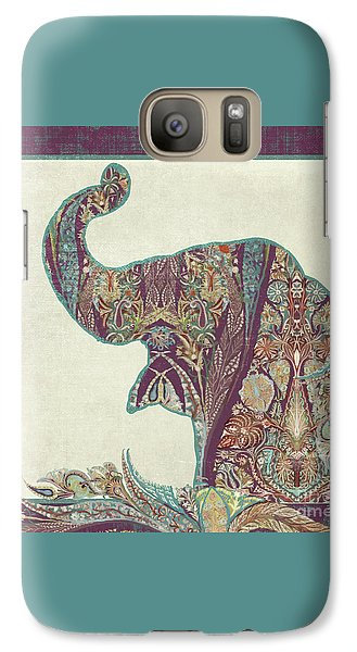 Galaxy Case featuring the painting The Trumpet - Elephant Kashmir Patterned Boho Tribal by Audrey Jeanne Roberts
