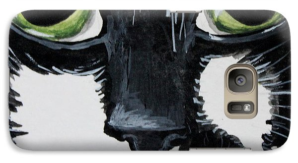 Galaxy Case featuring the painting The Tuxedo Cat by Elizabeth Robinette Tyndall