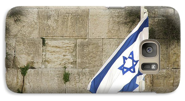 Galaxy Case featuring the photograph The Wailing Wall And The Flag by Yoel Koskas