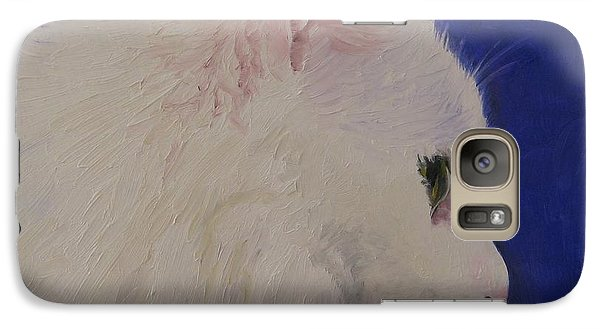 Galaxy Case featuring the painting The White Cat by Jindra Noewi