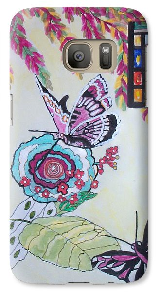 Galaxy Case featuring the painting The Window To The Butterfly World by Connie Valasco