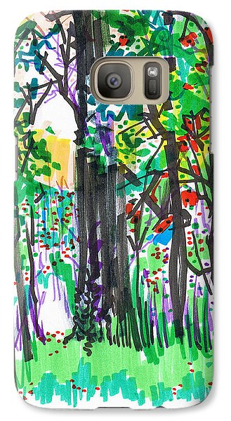 Galaxy Case featuring the drawing Thicket by Seth Weaver