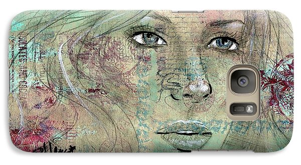 Galaxy Case featuring the drawing Thinking Back by P J Lewis