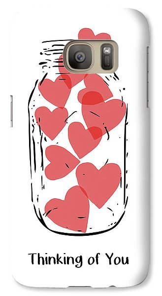 Galaxy Case featuring the mixed media Thinking Of You Jar Of Hearts- Art By Linda Woods by Linda Woods