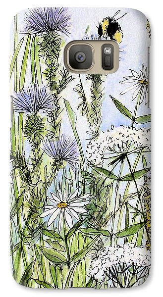 Galaxy Case featuring the painting  Thistles Daisies And Wildflowers by Laurie Rohner