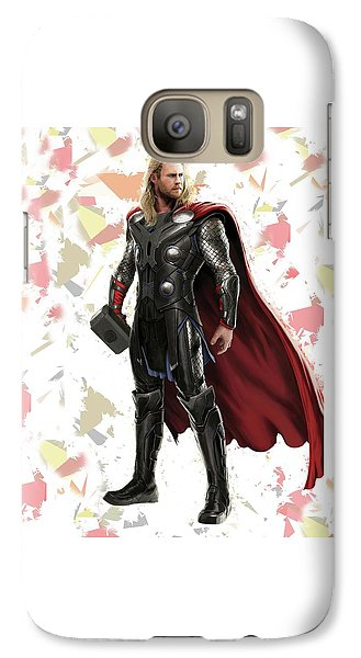 Galaxy Case featuring the mixed media Thor Splash Super Hero Series by Movie Poster Prints