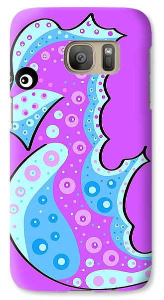 Galaxy Case featuring the painting Thoughts And Colors Series Seahorse by Veronica Minozzi