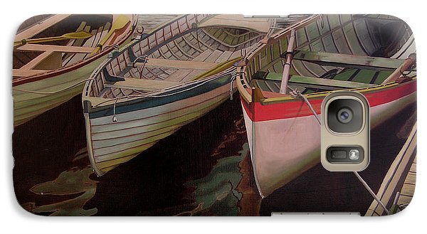Galaxy Case featuring the painting Three Boats by Thu Nguyen