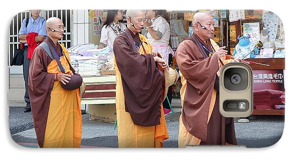 Galaxy Case featuring the photograph Three Buddhist Monks Chant Scriptures by Yali Shi