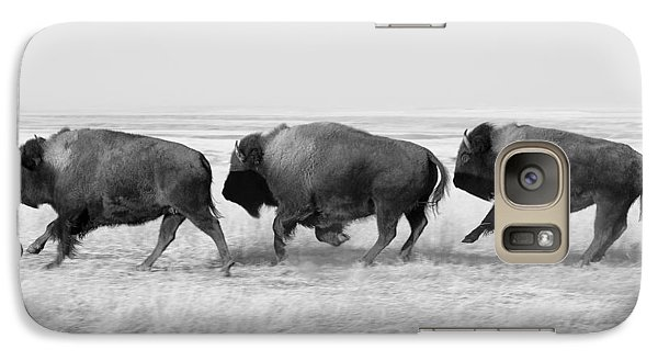 Three Buffalo In Black And White Galaxy S7 Case