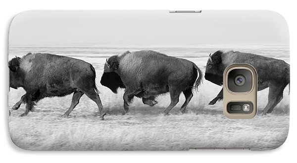 Three Buffalo In Black And White Galaxy S7 Case by Todd Klassy