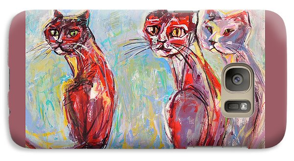 Galaxy Case featuring the painting Three Cool Cats by Mary Schiros