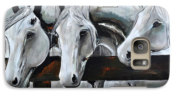 Galaxy Case featuring the painting Three Greys by Cher Devereaux