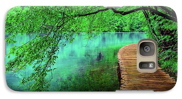 Tree Hanging Over Turquoise Lakes, Plitvice Lakes National Park, Croatia Galaxy S7 Case