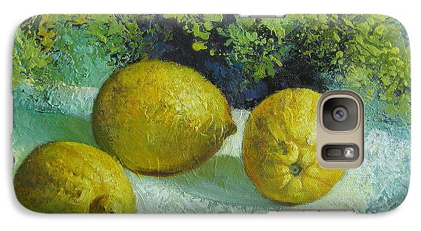 Galaxy Case featuring the painting Three Lemons by Elena Oleniuc