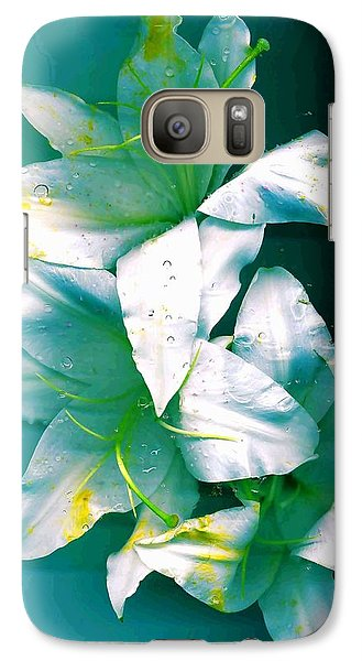 Galaxy Case featuring the photograph Three Lilies by Carolyn Repka