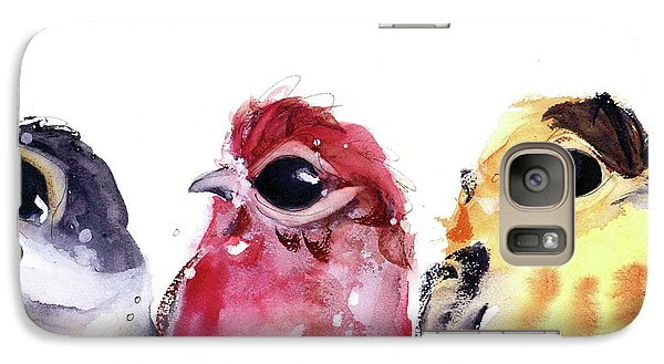 Galaxy Case featuring the painting Three Little Birds by Dawn Derman