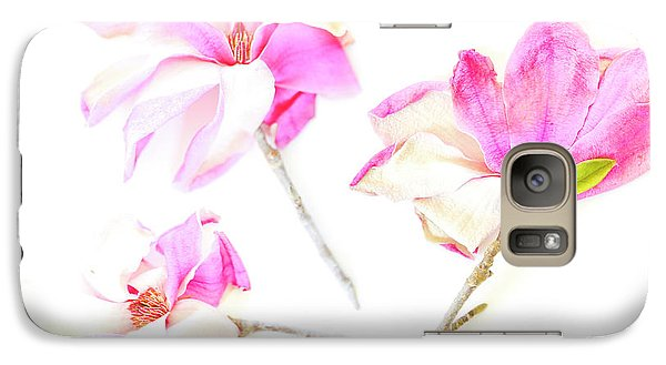 Galaxy Case featuring the photograph Three Magnolia Flowers by Linde Townsend