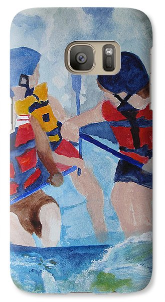 Galaxy Case featuring the painting Three Men In A Tube by Sandy McIntire