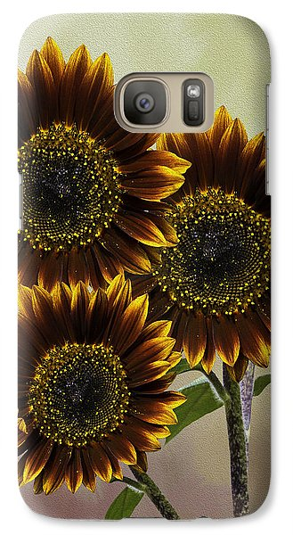 Galaxy Case featuring the photograph Three Painted Sunflowers Plus Two Buds by Diane Schuster