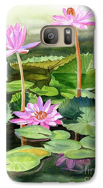 Lily Galaxy S7 Case - Three Pink Water Lilies With Pads by Sharon Freeman