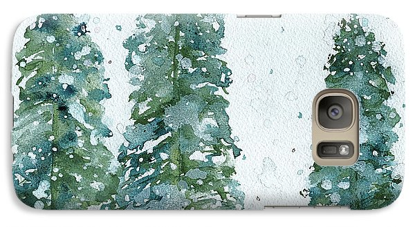 Galaxy Case featuring the painting Three Snowy Spruce Trees by Dawn Derman